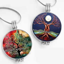 Tree Life Locket Pendant Australia - tree of life tree of life Perfume Aroma Locket glass Pendant Necklace Fragrance Essential Oil Aromatherapy Diffuser PD122