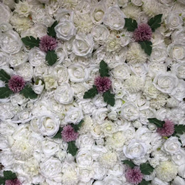 White 3d Rose Fabric Australia - 3D Artificial Flower Wall And DIY Flower Runner Wedding Decorations Backdrop Pink And White Rose Hydrangea And leaves