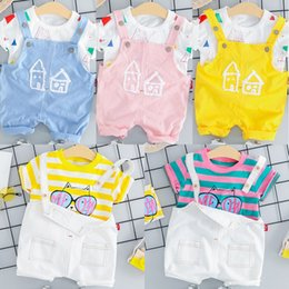 Wholesale Baby Short Sleeve Suspender Set Baby Boys Girls Summer T Shirt Suspender Shorts Set Kids Summer Tops Bib Suits