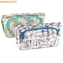fantastic bags NZ - KOKUYO Floral Kawaii Pencil Case Portable Zipper Big Pencil Box Kids Cute Pencilcase Cosmetic Pens Bag Student School Stationery