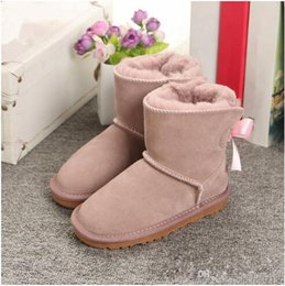 Snow Boot Waterproof Australia - New Winter Children's Snow Boots Australia Style Waterproof Cow Suede Leather Winter Girls Outdoor Boots Brand Ivg Size EUR 21-35
