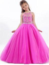 $enCountryForm.capitalKeyWord Australia - Custom Made Hot Pink Beaded Pageant Dress For Little Girls Full Skirt Long Tulle Kids Party Gown Birthday Prom Dress