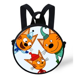 russian bags 2019 - 9-Inch Round Bag For Russian Cartoon Kid-E-Cats Print Backpack For Children Boys Girls Preschool Backpack Baby Kindergar