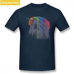 Rainbow Color Polo Australia - mens designer clothes brand polo Unicorn Rainbow Men T Shirt Hiphop Funny Big Size Cotton Short Sleeve T Shirt Games