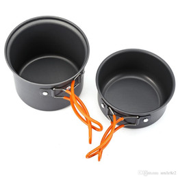 hiking outdoor cookware NZ - Outlife 2pcs Aluminium Alloy Outdoor Camping Hiking Cooking Set Cookware Non-Stick Pan Pot Bowl Tableware for One To Two Person VB