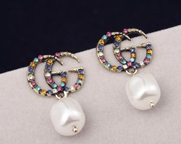 Earrings Korea Europe Australia - New shelves S925 silver needle explosion models exaggerated shiny diamond stud earrings fashion letters trend Japan and South Korea Europe a