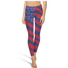 Background Prints Australia - Red wavy striped baseball team blue background Yoga Pants High Waist Yoga Pants Womens Gym Yoga Pants Breathable Training Tights Cool Legg