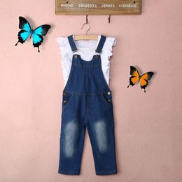 $enCountryForm.capitalKeyWord Australia - Vest + Jeans Girl Summer Clothes Set Dungarees Vest Tops White Overalls Denim Sleeveless Outfits Children Clothes
