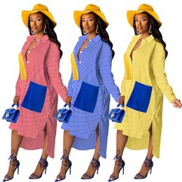 Wholesale vintage batwing dress for sale – plus size designer women casual dresses striped print sexy autumn bat long sleeve shirt dress patchwork sexy loose robe female asymmetrical midi dress