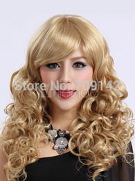 kanekalon lace wigs Canada - Shiny Blonde Curly Woman's Hair Wig Long Blonde Curly Fashion Wigs Quality Kanekalon made Brazilian no lace front wigs