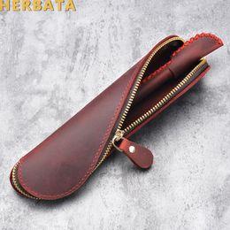 $enCountryForm.capitalKeyWord NZ - Creative Vintage Retro Style Pencil Bag Handmade Genuine Leather Pen Case Holder Cowhide Stationery Escolar Papelaria CL-19124