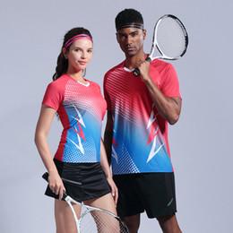 Опт Мужчины теннис набор Падл рубашка Бадминтон набор спортивная рубашка работает быстро сухой дышащий женщины настольный теннис Джерси обучение