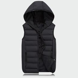 Cotton Windbreakers Australia - Mens Sleeveless Jacket Fashion Thicken Cotton Vest Hooded Autumn Warm Vest Winter Male Waistcoats Men Casual Windbreakers Ml063
