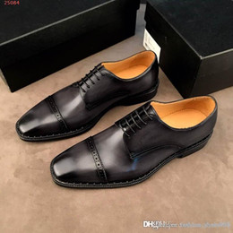 high end pointed men shoes 2019 - High-end leather Business shoes, men fashion business dress, leather with patent leather Craftsmanship, new attitude Bus