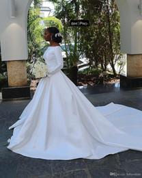 $enCountryForm.capitalKeyWord Australia - African Noble Long Sleeve Simple Cheap Wedding Dresses Plus Size Off Shoulder Elastic Satin Sweep Train Formal Wedding Bridal Gowns Cutsom