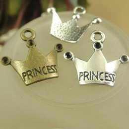 princess charms NZ - 19*17MM Fit 1.5MM Rhinestones Antique Bronze Retro PRINCESS crown charm pendant DIY jewelry accessories wholesale Korean jewelry