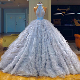 celebrity evening skirts UK - High Neck Ball Gown Prom Dresses Sexy Backless Tiered Skirts Formal Evening Gowns Light Blue Celebrity Dresses Party Wear Vestidos
