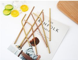 Steel Bar Bend Canada - Rose Gold Straight Bent 215 267mm Drinking 304 Straw Stainless Steel Bar Straws Reusable High Quality