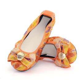 Ladies Flat Silver Shoes NZ - Hot sale orange women flats cover shoes with rhinestone bowtie decoration african lady dress shoes V239