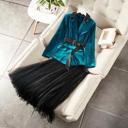 $enCountryForm.capitalKeyWord Australia - New 2019 Autumn Winter Womens Velvet Blazer Suit Color Block Sashes Blazers +black Dots Long Mesh Skirt Two Piece Set