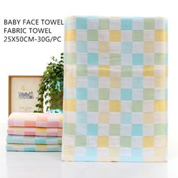 Towel Outlets Australia - 100% cotton towel child baby towel factory outlet four-color grid design uses a variety of soft skin genuine guarantee