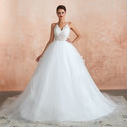 $enCountryForm.capitalKeyWord UK - 2020 Boho Halter Neck Designer Wedding Dresses Lace Appliques Backless A Line Ruffles Tiered Skirts Country Style Bridal Gown Real Image