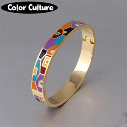 jewelry enamel painting Australia - New Fashion Stainless Steel Open Bangle For Women Gold Geometric colorful enamel painted Bangles Wedding Jewelry