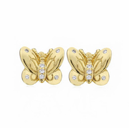 China 2019 Spring earrings 925 Sterling Silver gold butterfly Stud Earrings For Women European Style Jewelry Original Fashion supplier gold earrings style suppliers