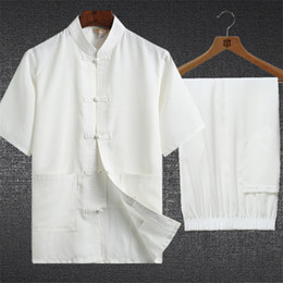 Wholesale costume tai chi resale online - Traditional Chinese Clothing Set Man Oriental Pieces Tai Chi Uniforms Short Sleeve Linen Casual Chinese Costumes
