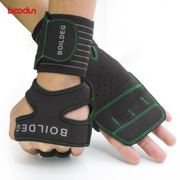 Gears wear online shopping - Boodun Body Building Training Gloves Non Slip Long Wrist Wrap Weight Lifting Gloves Wear Resisting Hand Palm Protector