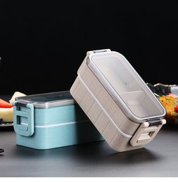 Wholesale Lunch box for children wheat straw box Japanese microwave box leak proof Bento lunch box for kids school lunch container