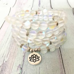 Gem chains online shopping - MG0622 Natural Mermaid Crystal Beads Mala Yoga Bracelet mm Gem Stone Women s Spiritual Necklace Ohm Charm Energy Bracelet