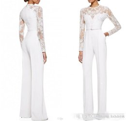 Satin Evening Suit NZ - White Mother Of The Bride Pant Suits Jumpsuit With Long Sleeves Lace Embellished Women Formal Evening Wear Custom Made