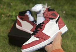 Discount spider shoes - 2018 Chicago Crystal Retro Release Authentic 1 High Spider Man Origin Story 1S Men Basketball Shoes Sports Sneakers 5550