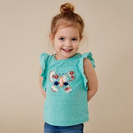 Girls Cotton Undershirts Australia - 2019 summer brand children's knitted children's T-shirts butterfly girls' undershirts and girls't-shirts