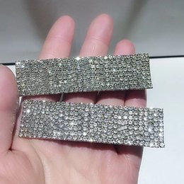 Ladies hair styLing accessories online shopping - 7 X2CM G style Full diamond Hair clip European and American ladies popular side clip one word clip hair accessories vip gift