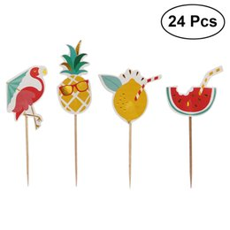 cake style candy boxes UK - 24Pcs Topper Flamingo Dessert Pineapple Watermelon Hawaii Style Pick Cake Topper for Birthday Cake Party Decoration