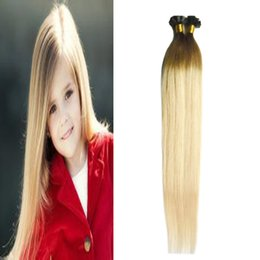 Discount flat fusion human hair extensions - 100g lot Straight Fusion Keration Flat Tip 100% Real Human Hair Extensions 1g s brazilian virgin hair ombre