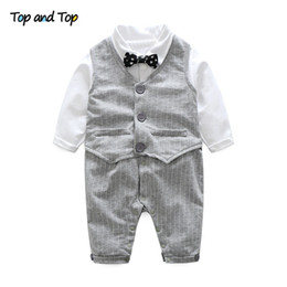 $enCountryForm.capitalKeyWord Australia - Top and Top Autumn Toddler Baby Boy Casual Clothing Set Grey Vest + Long Sleeve Bow Tie Romper Wedding Party Gentleman Suit
