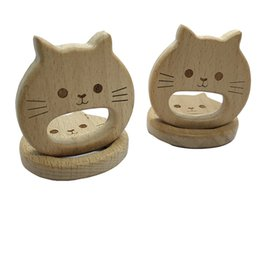 wholesale wood pendants Australia - 4pcs Natural Wooden Teether Cat pendant Beech Wood Stroller Toy Organic Gift for Newborn Baby Teether Food Grade DIY Baby Teething Jewelry