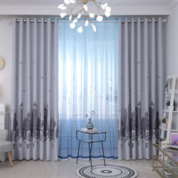 modern grommet curtains Australia - Modern Simple Cartoon City Castle Tower Curtain Bedroom For Baby Room Tulle Window Drapes