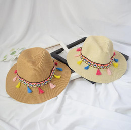 6f6efe3ea75 Multicolor Ethnic Style Straw Hat Women Wide Brim Hat With Colorful Tassels  For Summer Beach Hat Lady Outdoor Panama Hats Free Ship