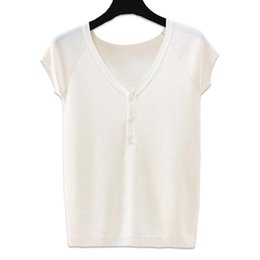 Discount plain slim fit t shirt Tops 2020 Summer Solid Color Basic Plain White T-Shirt Women Cotton Skinny Knitting Tees Slim Fit Tight V-Neck Short Sle