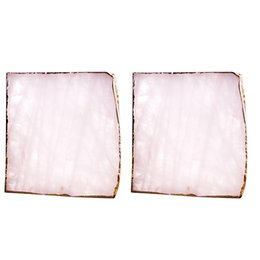 $enCountryForm.capitalKeyWord UK - 2Pcs Agate Slice Pink Agate Coaster Teacup Tray Decorative Design Stone Coaster Gold Edges Home Decor Gemstone Natural