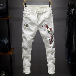 White Stretch Pants Australia - White Men Embroidered Jeans Size 28-38 Mens Hole Jeans High Quality Male Stretch Denim Pants