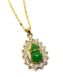 Jade Pendants Plate Australia - 18k Yellow Gold Plated Natural Jade Gemstone Gourd Pendant Necklace Jewelry Gift Wholesale
