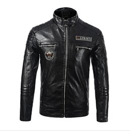 leather bomber jacket men fur NZ - PU Locomotive Men Leather Jacket Thick Winter Bomber jacket Brand Quality Faux Fur Coat Men Black Warm Overcoat Motorcycle Style