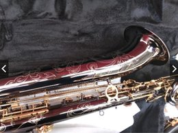Discount brass black saxophones - Engraved Logo Eb Baritone Saxophone Black Nickel Gold E flat Low A Baritone Sax With Case mouthpiece gloves reeds straps