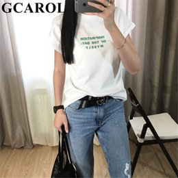 character tees Australia - Gcarol 2019 Women Letter Printed T-shirt Oversize Casual Tees High Quality Summer Character Candy Color Sweet Basics Tops Y190508