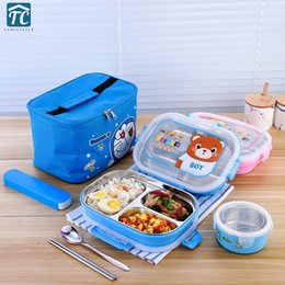 $enCountryForm.capitalKeyWord NZ - 304 Stainless Steel Insulated Lunch Box Children Divided Plate School Anti-scald Cartoon Cute Dinnerware Camping Food Container Y19070303